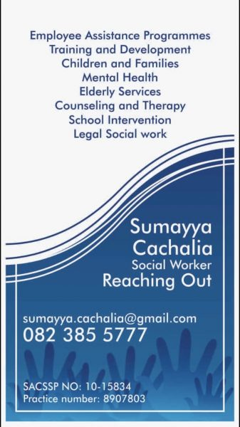 Sumayya Cachalia – Reaching Out – Social Worker in Private Practice